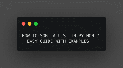 How to sort a list in python